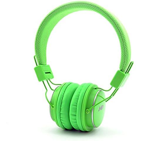 GranVela® Q8 [11 colori] Bluetooth Stereo Pieghevole On Ear Cuffie con Micro SD (TF) Giocatore di Musica e FM Radio Supporta jack da 3,5 mm Nuovo Moda Progettato Cuffie - verde chiaro - 5 Funzione Computer Biciclette