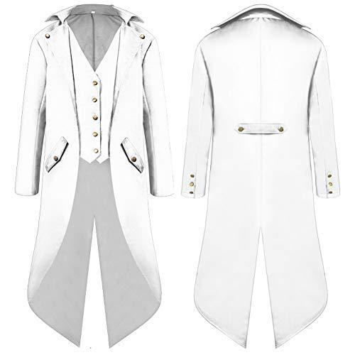 Frack Weiße Kostüm - SWISSWELL Herren Steampunk Vintage Gothic Jacke warme Frack Herrenjacke Knöpfe Langer Mantel Cosplay Kostüm Graben Bomberjacke Cape mit Weste,Weiss,EU-M/Herstellergröße-XL