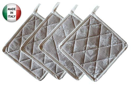 Set 4 presine da Cucina Shabby Chic Cuori con Bordo Panna Molto Resistente al Calore e ai lavaggi in Lavatrice, Solide e Spesse, Misto Poliestere, Made in Italy