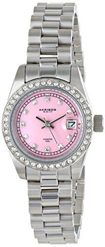 Akribos XXIV Femme Ak489pk Impeccable Affichage analogique à quartz japonais Argent montre