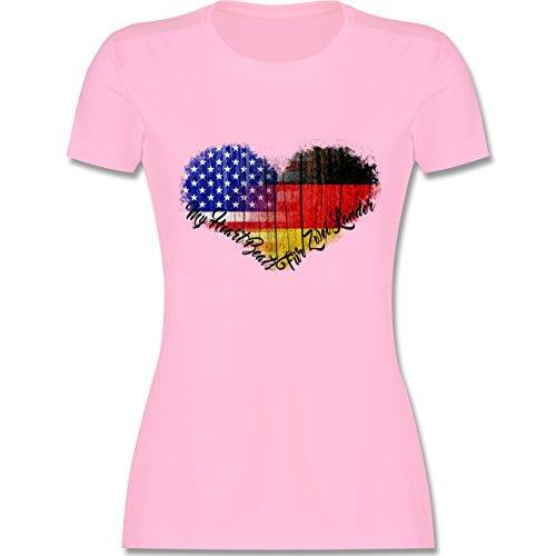 Flaggen - Deutsch-Amerikanische-Flagge-Herz - M - Rosa - L191 - tailliertes Damen Frauen Rundhals T-Shirt