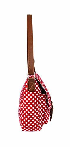 Dame donna ragazze Borsa Borsa a tracolla, in tela, 40 x QL5152M sacchetti a Pois Rosso (rosso)