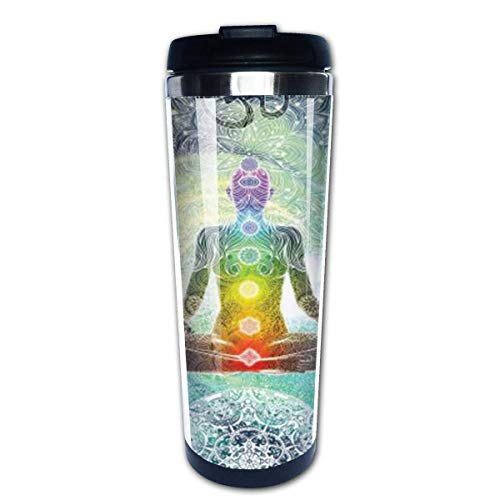 Yoga Design Hippie Style 14oz Isolierter Edelstahl-Reise- und Campingbecher mit spritzwassergeschütztem Deckel
