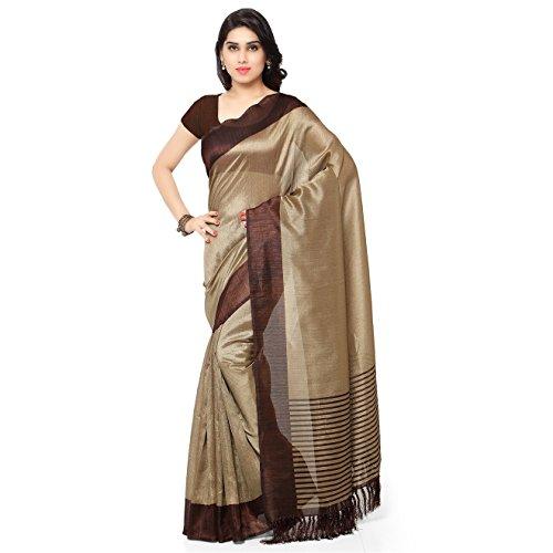 Rajnandini Women's Tussar Art Silk Saree (Joplnb3011B, Brown, Free Size)