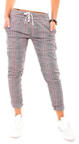 Damen Lounge Stretch Hose Pepita Glencheck Sweathose Jogginghose Relaxpants Lang Baumwolle Kariert Schwarz-Weiß-Pink XS - 34 (S)