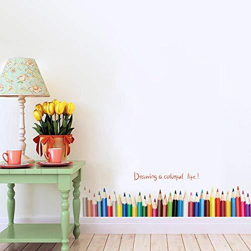 3D Diy Kreative Farbige Bleistift Zeichnung Sockelleiste Fenster Aufkleber Wohnkultur Wohnzimmer Baseboard Wandaufkleber Pvc Wohnkultur T11 -wangzhanping