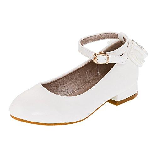 Hello Coccinelli Festliche Mädchen Pumps Schuhe Strass Zierschleife Riemchen in Vielen Farben M397ws Weiß 30