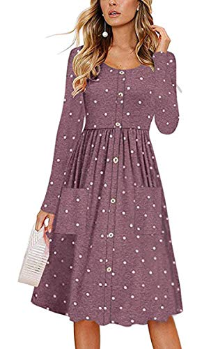 Angashion Women's Long Sleeve Button Swing Skater Midi Dress with Pockets