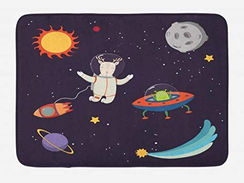 ARTOPB Explore Bath Mat, Hand Drawn Deer Astronaut in Space with Sun Moon Shooting Star and Alien Planet, Plush Bathroom Decor Mat with Non Slip Backing, 23.6 W X 15.7 W Inches, Multicolor (In Spray Hair Dye)
