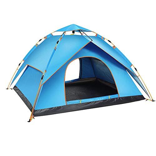 Vollautomatisches Double Laye Zelt Großes, Atmungsaktives Anti-UV-Wigwam Hydraulisch Wasserdicht Für Bis Zu 3-4 Personen,Blue
