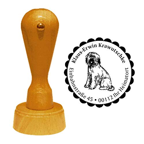 """Stamp Address Stamp""""Briard 01″ Diameter Approx. Diameter 40 mm – with Personal Address, Motif and Decorative Edge – Dog Breed France Berger de Brie Shepherd Dog"""