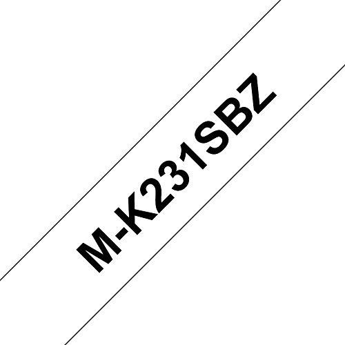 Brother MK231SBZ Nicht-laminiertes Schriftband auf Rolle 1,2 cm x 4 m in Blisterpackung 1 Rolle schwarz auf weiß