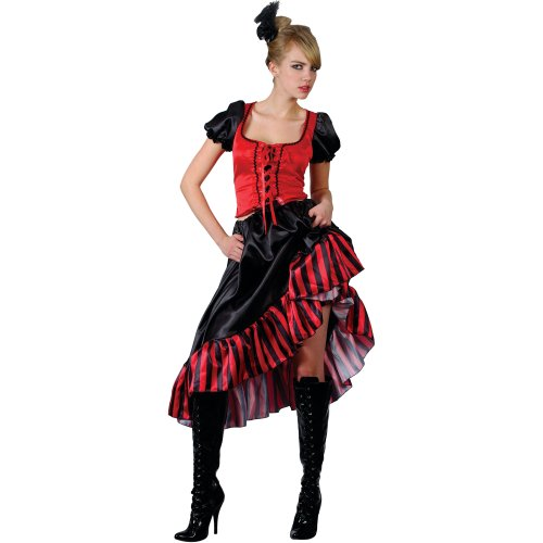 Cancan Tänzerin Show Girl Rot Schwarz Party Karneval -