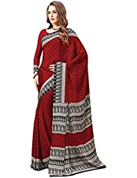 Ligalz Women's Red Crepe Silk Saree (Special Discounted Price Only For THE GREAT INDIAN FESTIVAL)