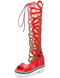 COOLCEPT Mujer Moda Cordones Sandalias Hueco Verano Botas Peep Toe Tacon de Cuna Elevator Interior Zapatos Cremallera