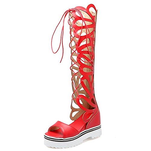 TAOFFEN Femmes Gladiateur Peep Toe Bottilons Sandales Classique Compenses Talons Hauts Lacets Chaussures Rouge