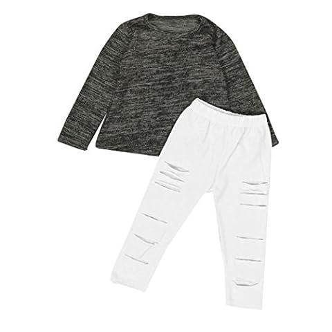 sakure Kleinkind Kids Baby Mädchen-Outfit Kleidung Baumwolle rund Hals grau lange Ärmel T-Shirt Tops Weiß Broken Loch Lange Hose (Baby In Watermelon Kostüm)