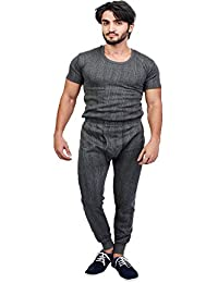 ZIMFIT Cotton Men's or Boy's Winter wear Round Neck Half Sleeves Thermal,Warmer Set in Dark Grey Colour (Pack of 1)