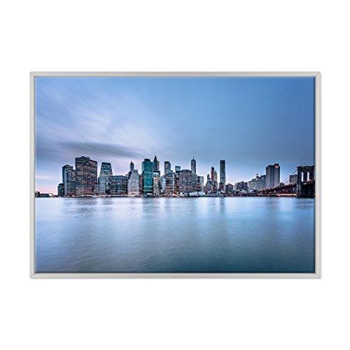 Bild auf Leinwand Canvas - fertig zum Aufhängen - NY New York - Brooklyn Fiume East River Manhattan - USA Amerika Dimensione: 70x100cm B - Colore Bianco Moderno