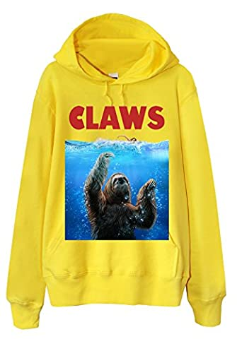 Sweat à capuche - Sloth as Monster from the Deep, CLAWS! Yellow Medium