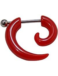 Espiral extensor falso para la oreja de acrílico rojo con una dilatación ...