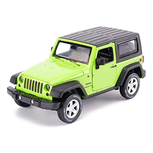 ZYYANG Modell PKW Jeep Wrangler Rubicon Geländewagen SUV1: 32 Druckgusslegierungslegierung Sound und leichtes Spielzeugauto-Simulationsauto Auto Model (Color : Green)