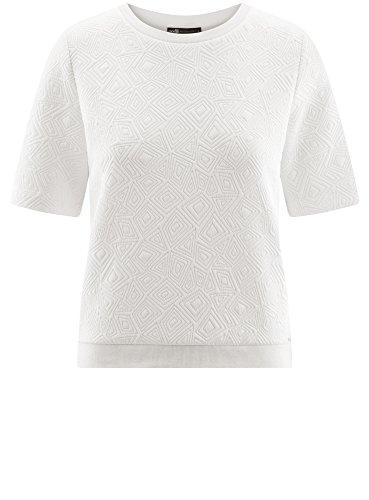 oodji Collection Femme Sweat-Shirt en Tissu Texturé à Manche Courte Blanc (1000N)