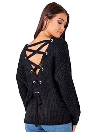 YAANCUN-Donna-Design-Hollow-V-collo-Profondo-Camicia-Manica-Lunga-Felpa-Maglione-Cappotto-Pullover-Nero