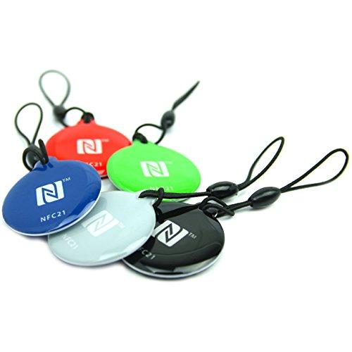 NFC Tag Anhänger Style, NXP NFC Chip mit 180 Byte, 5 Farben, 5 Stück, 30mm, optimal für Geräte-/ Profilsteuerung (WLAN, Bluetooth, Apps), kompatibel mit Allen NFC Smartphones und Tablets Bluetooth-anhänger
