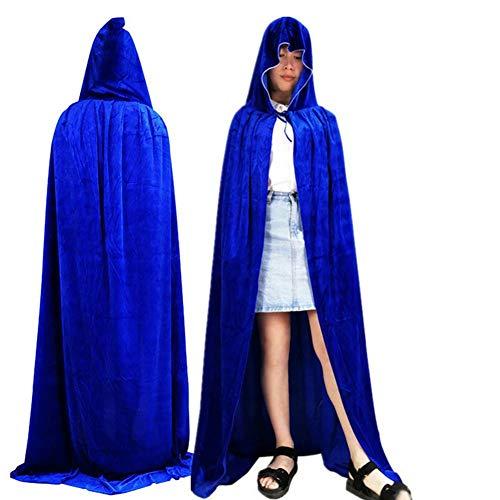 GUAN Halloween-Mantel Cosplay Maskerade Leistung Dressing Samt Hexenmantel Tod Umhang - Blue Devils Kostüm