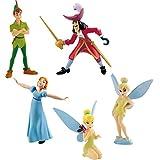 Bullyland - Peter Pan de Disney - Set 5 Figuras Hook Tinkerbell Wendy Pan