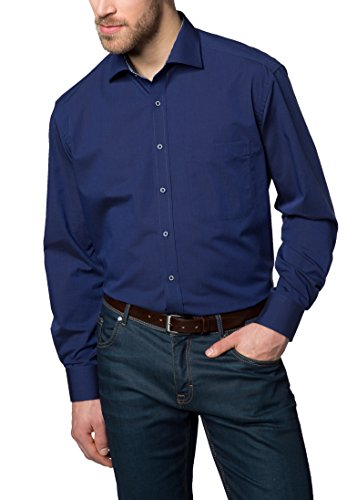 Eterna Long Sleeve Shirt Comfort Fit Fil à Fil Uni Blu marino
