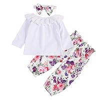 BOBORA Baby Girl Clothes, Infant Girls 3PCs Clothing Set Sleeveless Cotton Shirt + Flowers Pants + Headband