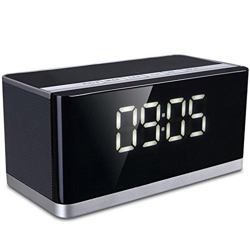 Vinteen Moda Inicio Altavoces Bluetooth Inalámbrico Bluetooth Altavoz Ordenador Teléfono Celular Mini Tarjeta de inserción portátil Pequeño Sonido Cañón bajo Multifunción Un Cuerpo Negro Gran pantalla Despertador Cuerno