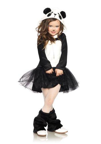 Reissverschluss Petticoat Kleid mit Plüsch Panda Kapuze, Größe M, schwarz/weiß (Panda Bear-halloween-kostüm)