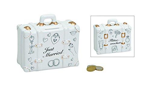 henger-mauk Spardose Koffer JUST Married - FLITTERWOCHEN Hochzeit Geschenk Spardose just Married