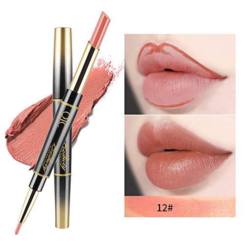 Yazidan 14 Farbe Lipgloss Doppelseitiger Lip Liner-Stift- wasserdicht Matte Liquid Lipstick Schönheit Lippe Gloss, Sexy Long Lasting Moisturizing Lippenstift Lippenstift, Lipgloss,Liquid Lipstick
