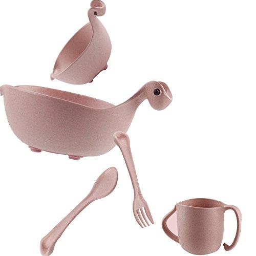 LINAG Babies Geschirr Set Schale Teller Gabel Löffel Tabletts Besteck Bambusfaser Kleinkinder Separat Essen Kinder,Pink