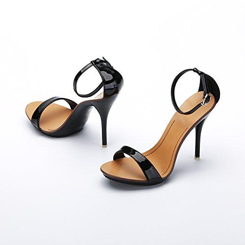 OCHENTA Sandali stiletto estivi con cinturino alla caviglia, chiusura fibbia, per donna Nero