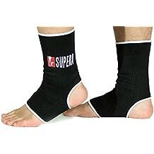 SUPERA Fußbandage - elastisch Fußgelenkbandage für MMA, Martial Arts, Muay thai Kickboxen 1 Paar – auch für andere Sportarten wie Handball Fußball Laufen - Stützbandage Knöchelbandage Sprunggelenkbandage
