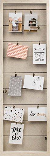 Gallery Solutions Bilderrahmen Collage mit Wäscheleinen und Klammern, Creme, Außen: 38x115x5 cm
