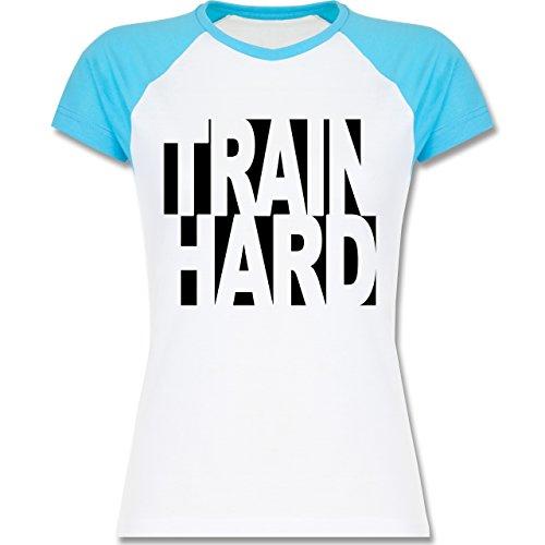 CrossFit & Workout - Train Hard - zweifarbiges Baseballshirt / Raglan T-Shirt für Damen Weiß/Türkis