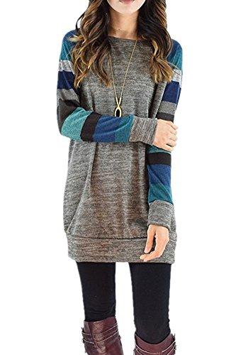 ZIOOER Damen Pulli Longshirt Langarmshirt Lose Oversize Pullover Gestreift Rundhals T-shirt Hemd Oberteile Sweatshirt Tops Grau-Blau L