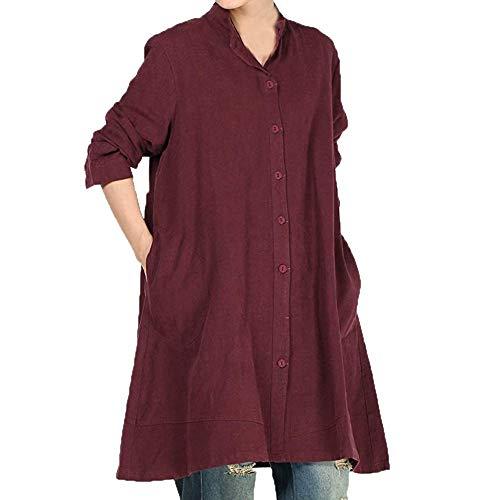 TEBAISE Damen Herbst Baumwolle Leinen Voller vorderer Knopf Blouse Kleid mit Taschen Frauen-Baumwollleinen Lange Bluse unregelmäßiger Rand Buttons lose beiläufige Weinlese-Spitzen-Hemd-Kleid