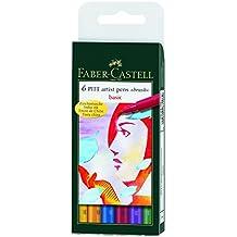 Faber-Castell 167103 - Tuschestift PITT artist pen brush -Basic- 6er Packung