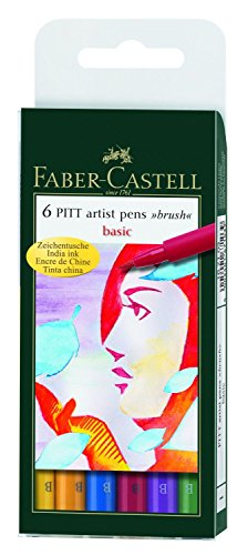 Faber Castell 167103 - Tuschestift PITT artist pen brush -Basic- 6er Packung (Artist Color-stifte)