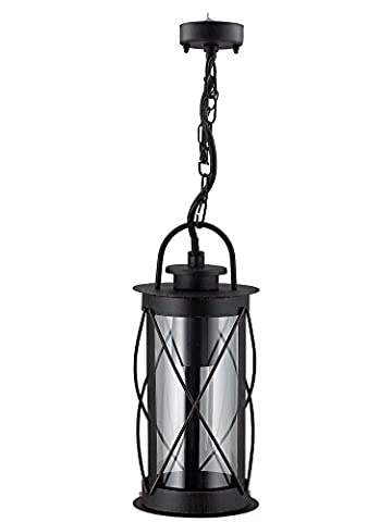 Outdoor Hanging Lantern Light Black Metal Clear Cover with Chain and Fixings IP44
