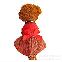 AHJSN Pet Clothing Dog Autumn Red Plaid Skirt Xxs18 * 30 Red
