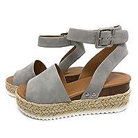 Colleer Flatform Sandals for Women, Espadrilles Wedge Sandal Open Toe Ankle Strap Sandals (Black, Brow, Grey)