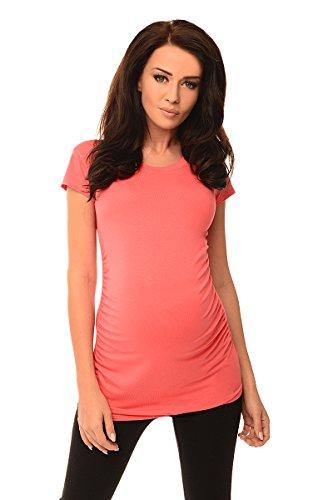 Schwangerschaft Mutterschaft T-shirt (Purpless Maternity Umstands T-Shirt Schwangerschaft Top 5010 (36 (UK 8), Coral))